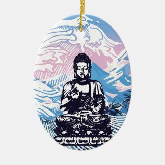 Ornement Ovale En Céramique Vague de montagne tropicale de Bouddha