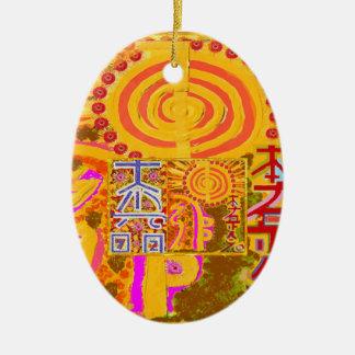 Ornement Ovale En Céramique ver 2013. Symboles PRINCIPAUX curatifs de REIKI