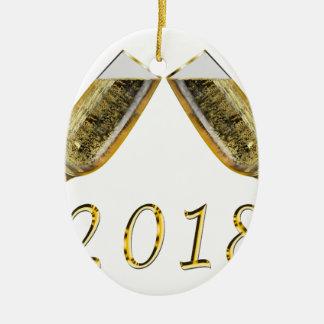 Ornement Ovale En Céramique Verres 2018 de Champagne