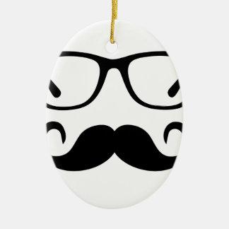 Ornement Ovale En Céramique Verres de hippie et moustache de guidon