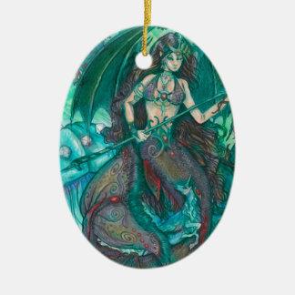 Ornement Ovale En Céramique Vert de Teal de mer d'océan de licorne de sirène