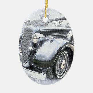 Ornement Ovale En Céramique Vieilles voitures de cru de voitures de voitures