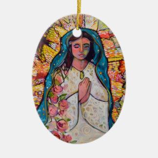 Ornement Ovale En Céramique Vierge d'ornement de Noël de Guadalupe