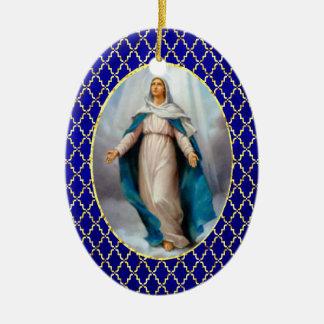 Ornement Ovale En Céramique Vierge Marie béni