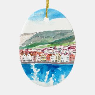 Ornement Ovale En Céramique Vieux Bryggen bord de mer de port de Bergen