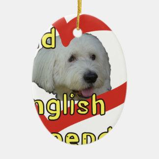 Ornement Ovale En Céramique Vieux chien de berger anglais