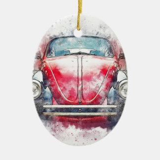 Ornement Ovale En Céramique Vieux cru d'aquarelle d'abrégé sur art de voiture