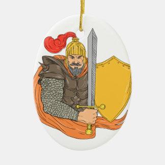 Ornement Ovale En Céramique Vieux dessin de bouclier d'épée de chevalier