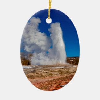 Ornement Ovale En Céramique Vieux fidèle de Yellowstone