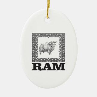 Ornement Ovale En Céramique vieux moutons encadrés