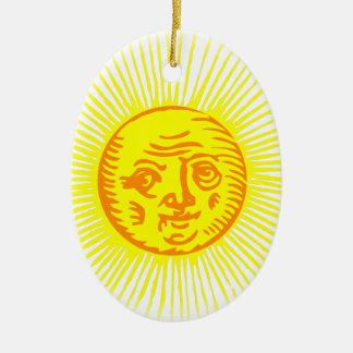 Ornement Ovale En Céramique Vieux Sun