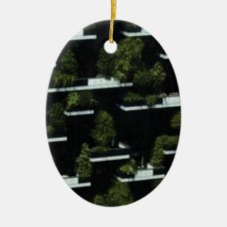 Ornement Ovale En Céramique village d'arbre haut