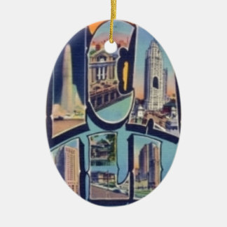 Ornement Ovale En Céramique Ville vintage de Chicago
