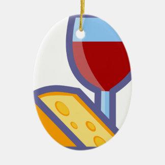Ornement Ovale En Céramique Vin et fromage