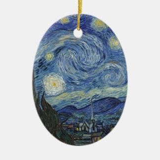 Ornement Ovale En Céramique Vincent van Gogh | la nuit étoilée, juin 1889