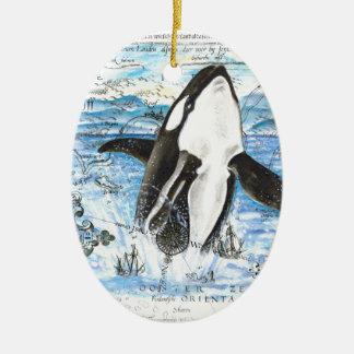 Ornement Ovale En Céramique Violation de la carte antique d'orque