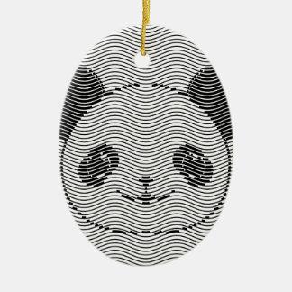 Ornement Ovale En Céramique Visage d'ours panda sur le motif de vague