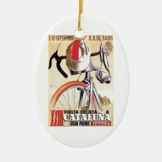 Ornement Ovale En Céramique Visite 1943 de l'Espagne d'affiche de course de
