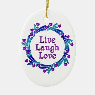 Ornement Ovale En Céramique Vivent les coeurs pourpres d'amour de rire