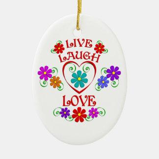 Ornement Ovale En Céramique Vivent les fleurs d'amour de rire
