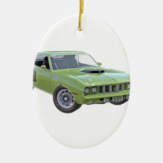 Ornement Ovale En Céramique Voiture verte du muscle 1971