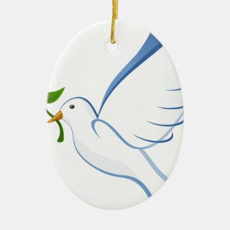 Ornement Ovale En Céramique Vol de colombe de blanc