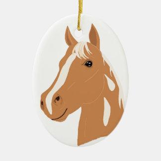 Ornement Ovale En Céramique Vol rouge le cheval heureux