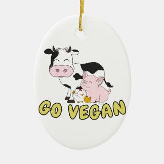 Ornement Ovale En Céramique Vont le végétalien - porc, vache et poulet mignons