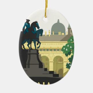 Ornement Ovale En Céramique Voyage vintage Vienne
