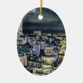 Ornement Ovale En Céramique Vue aérienne de scène de nuit de paysage urbain de