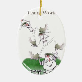 Ornement Ovale En Céramique Work d'équipe de cricket de Yorkshire d'amour '