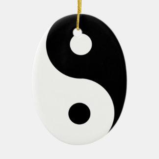 Ornement Ovale En Céramique yin-Yang