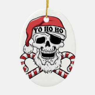 Ornement Ovale En Céramique Yo ho ho - pirate père Noël - le père noël drôle