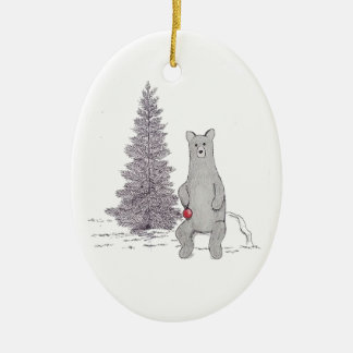 """Ornement ovale """"Tis d'ours mignon la saison """""""