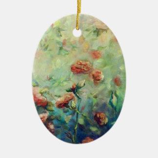 Ornement peint de roses