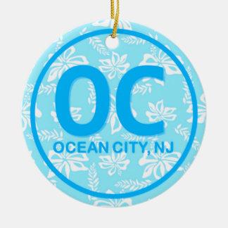Ornement personnalisé de bleu de ville d'océan