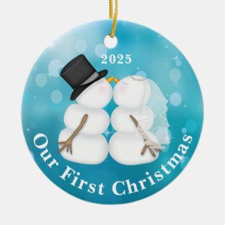 Ornement personnalisé de Noël de nouveaux mariés