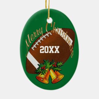 Ornement personnalisé de Noël du football VOTRE
