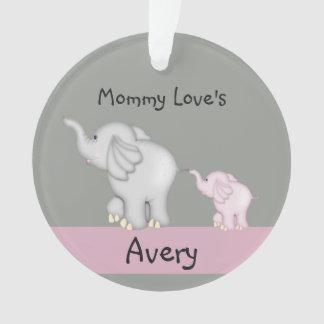 Ornement personnalisé d'éléphant de maman et de