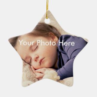 Ornement personnalisé d'étoile de Noël de photo