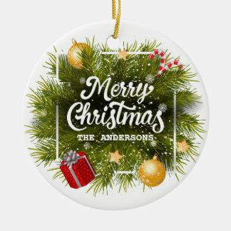 Ornement personnalisé élégant d'arbre de Noël