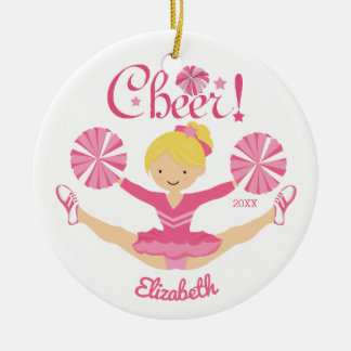 Ornement personnalisé par pom-pom girl blond rose