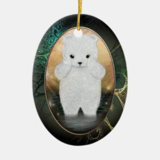 Ornement personnalisé pelucheux d'ours blanc