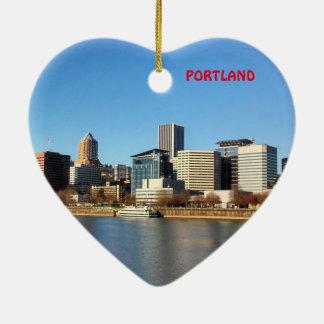 Ornement pittoresque de coeur de Noël de Portland