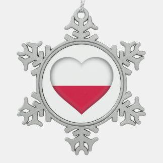 Ornement polonais d'étain d'amour