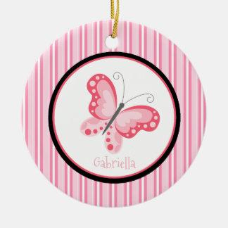 Ornement rayé rose de papillon