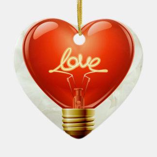 Ornement romantique d'ampoule d'amour