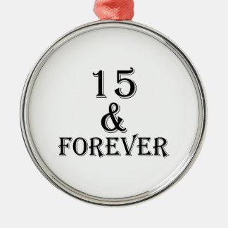 Ornement Rond Argenté 15 et pour toujours conceptions d'anniversaire