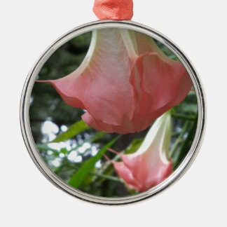 Ornement Rond Argenté 2 fleurs de trompette roses d'anges