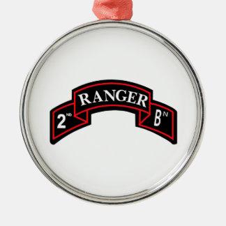Ornement Rond Argenté 2nd Ranger Battalion - 2ème bataillon de Ranger